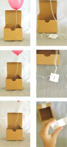 diy balloon in a box - for small birthday gift that can be attached to string?