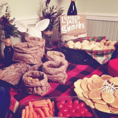 lumberjack snacks = lumberjack party GOOD IDEA FOR CANDY BAR- Paper bags to put candy in... also mabe make flannel bags?