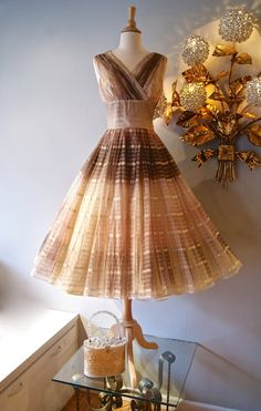 1950s dress // Vintage 50s Tea Blush Ombre Party Dress with Full Skirt on Etsy, $298.00