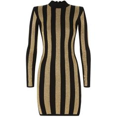 Balmain Striped Lurex Dress (4.095 BRL) ❤ liked on Polyvore featuring dresses, stripe dress, body con dress, night out dresses, high neck bodycon dress and holiday party dresses