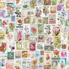 Vintage flower stamps