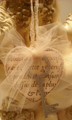 Vintage Inspired French  Key To My Heart/French Script/Tulle/Glittered Key. $7.00, via Etsy.