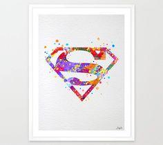 Superman Watercolor illustration Art Print,Wall Art Poster,Home Decor,Wall Hanging,Boys/Girls Room Art,Motivational/Inspirational Gift,No 10