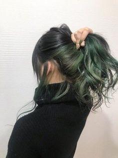 - All For Hair Color Balayage Peekaboo Hair Colors, Green Hair Colors, Hair Dye Colors, Hair Color Streaks, Hair Color For Black Hair, Cool Hair Color, Green Hair Ombre, Dark Green Hair Dye, Korean Hair Color