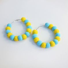 Pom Hoop Earrings (Blue and Yellow) by Elleni the Label