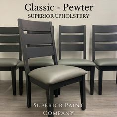 Reupholstered dining chairs using Superior Upholstery by Superior Paint Co. Paint Companies, Vegan Leather, Upholstery, Dining Chairs, Classic, Ships, Yard, House, Furniture