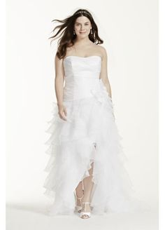 Best  Plus Size Wedding Dress of the Week Chiffon High Low Dress by Sydney us Closet High low Pear and Shawl