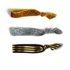 #Silver and #gold Hair Tie Set  Set of 3  Glitter by PoofyCheeksShop