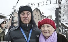 Rose Schindler, 85, right, a survivor of Auschwitz, and her husband Max, 85, visit the former death camp. Mrs. Schindler's parents and four siblings died at Auschwitz (and no, she's not related to Oskar Schindler of Schindler's List).