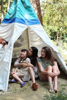 Shiva & daughters enjoy the backyard tent.