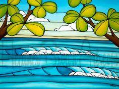 Surf Art by Heather Brown at The Wyland Gallery in Waikiki November 2015 Heather Brown Art, Hawaiian Art, Hawaiian Decor, North Shore Oahu, Summer Waves, Vintage Mermaid, Wave Art, Tropical Art, Mid Century Art