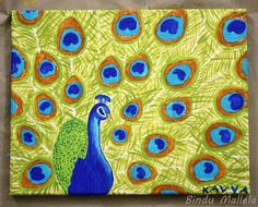 crazy for colors!: Peacock, acrylic on canvas...