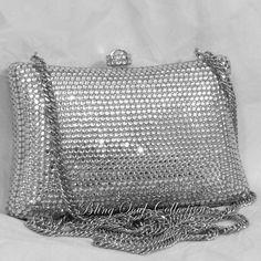 Bright Silver Pillow Swarovski Crystal Evening Bag Clutch Purse Wedding