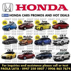 Honda Cars Philippines Official Website See More Like And Follow To Get Updates On Hondas Latest Promos Hot Deals By