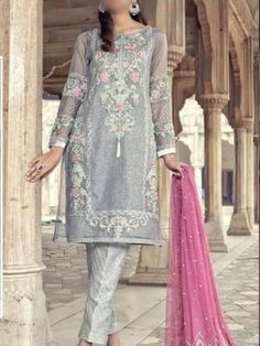 *Marium & Maria (Chiffon Collection Pure Chiffon Heavy Sequence Embroidered Front *Semi Pure Chiffon Heavy Sequence Embroidered Sleeves *Plain Semi Pure Chiffon Back *Semi Pure Chiffon Heavy Sequence Embroidered Duppata*Front &. Pakistani Designer Suits, Pakistani Dress Design, Pakistani Outfits, Indian Designer Wear, Indian Outfits, Designer Suits Online, Designer Dresses, Bridal Collection, Dress Collection