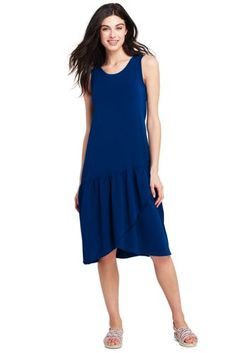 643a357e4dc Women s Sleeveless Knit Ruffle Tank Dress