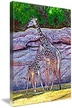 """""""Giraffes in Photo Paint"""" by Kyle Ferguson, Huntsville //  // Imagekind.com -- Buy stunning fine art prints, framed prints and canvas prints directly from independent working artists and photographers."""