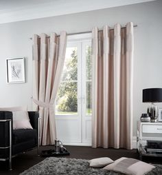 Zaftig Eyelet Room Darkening Curtains Red Barrel Studio Size: x Curtain Colour: Champagne Room Darkening Curtains, Colorful Curtains, Drapes Curtains, Decorative Curtains, Sliding Curtains, Curtain Room, White Bedding, Linen Bedding, Gold Bedding