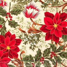 Let It Glow - Elegant Poinsettia Cream Metallic Yardage - Sentimental Studios - Moda Fabrics