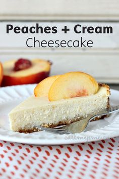This Peaches and Cream Cheesecake with Almond Crust is a light dessert recipe that does not lack in flavor. Made with Greek yogurt, fresh peaches, and maple syrup, this simple sweet treat is a delicious and healthy option.