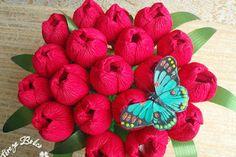 Eu Amo Artesanato: Flores de papel crepom recheada de bombons                                                                                                                                                                                 Mais