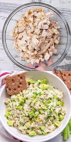 Healthy Food Recipes, Easy Salad Recipes, Chicken Salad Recipes, Avocado Recipes, Lunch Recipes, Low Carb Recipes, Diet Recipes, Healthy Snacks, Cooking Recipes