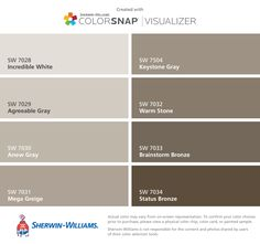 I found these colors with ColorSnap® Visualizer for iPhone by Sherwin-Williams: Incredible White (SW Agreeable Gray (SW Anew Gray (SW Mega Greige (SW Keystone Gray (SW Warm Stone (SW Brainstorm Bronze (SW Status Bronze (SW Paint Color App, Paint Color Schemes, Exterior Paint Colors, Paint Colors For Home, Wall Colors, House Colors, Sw 7036, Shoji White, Anew Gray