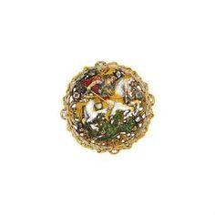 A late 19th century neo-renaissance gold, diamond and enamel hat badge  CHRSITIES LONDON