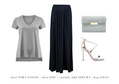 Key pieces that look hot on the urban Summer streets: skirt DAU, tshirt TARA LOOSE, LIVIA bag and AQUAZZURA high heels  #LaMania #Fashion #StreetStyle  #Aquazzura