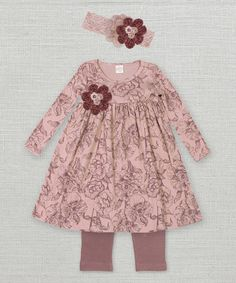 Look what I found on #zulily! Mauve Floral Toile Dress Set - Infant by Truffles Ruffles #zulilyfinds