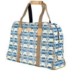 """Oral Kiely blue car print luggage authentic Orla Kiely car print luggage, used only once.  it's in perfect condition. hard to find. 23""""X 16""""x6"""". zipper opening with a zipped inside pocket and 2 large pockets.  cotton grey car print lining.  perfect weekend bag Orla Keily Bags Travel Bags"""