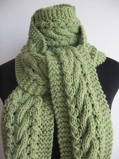 Hand Knit Scarf Fern Green Cable and Lace Scarf by KnitsByNat