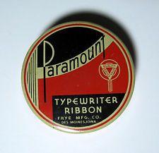 Vintage Art Deco Paramount Typewriter Ribbon Tin Frye Mfg. CO. Des Moines, Iowa