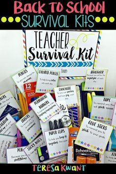 BAck To School Treat Bags: Looking for a fun and unique way to welcome your students or teacher back to school? Try these great back to school survival kits! There are options available for both the student or teacher in your life. Schul Survival Kits, Survival Kit For Teachers, Survival Supplies, Survival Guide, Survival Skills, Office Survival Kit, Survival School, Survival Items, Survival Shelter