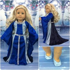 Medieval 18 inch doll dress, belt and shoes made to fit american girl size doll renaissance shades of Blue costume