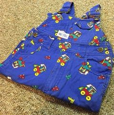 Okie Dokie Bear Train Overalls 3T 90s Toddler Child Blue Winter Spring Fall  #OkieDokie #Everyday