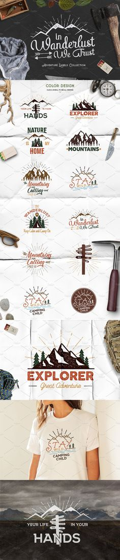 #Freebies : Great #Adventure #Vintage Labels - Set of #outdoors activity badges. #Retro #illustration of wanderlust, camping labels. #Typography and roughen style, Custom #quotes, #Inspirational text. ( #lettering #unlimiteddownloads #printable #graphics #branding #logodesign #inspirational #vector )
