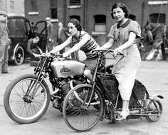 Two ladies astride an 1895 Crank Drive Motorcycle (r) and a 500 New Imperial Twin (l), which has reached 114 mph at Brooklands