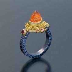 Zaffiro Jewellery - Jack and Elizabeth Gualtieri, Oxidized sterling silver 22kt gold granulation garnet ring