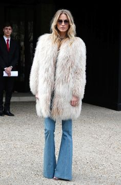 Steal Poppy Delevingne's Boho-Rocker Fur And Flared Jeans Look