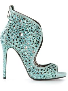 Light blue leather 'Shiny Star' boots from Philipp Plein featuring an open toe, a brand embossed insole, a perforated detail, Swarovski crystal embellishments and a high stiletto heel. Sexy Stiefel, Star Boots, Peep Toe, Ankle Boots, Louboutin, Duck Egg Blue, Shoe Art, Designer Boots, Walking