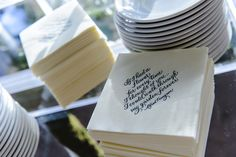 """Ivory cocktail napkins were emblazoned with the couple's favorite love quotes, including: """"If I had a flower for every time I thought of you... I could walk through my garden forever."""" #custom #napkin Photography: Chrisman Studios. Read More: http://www.insideweddings.com/weddings/impressive-colorado-wedding-over-an-olympic-sized-pool/566/"""