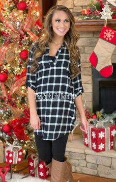 No Regrets Black and White Plaid Tunic Dress - The Pink Lily Boutique
