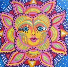 Sun Face Folk Art original painting on canvas by patriciaezzell, $350.00