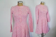 PINK Day Dress / 1970s Scooter / Medium by badbabyvintage on Etsy