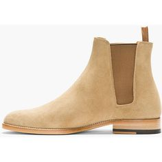 Saint Laurent Tan Suede Chelsea Boots found on Polyvore featuring polyvore, men's fashion, men's shoes, men's boots, men, yves saint laurent mens shoes, mens tan chelsea boots, mens tan boots, mens suede shoes and mens tan suede shoes