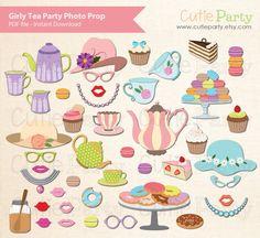 Tea Party Photo Booth Prop, Ladies Tea Party Photo Booth Prop, Bachelorette Tea Party Printable, Little Girl Tea Party Printable