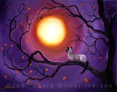 Siamese Cat In Purple Moonlight Painting by Laura Iverson Haunted Tree, Creepy Cat, Moonlight Painting, Siamese Kittens, Cat Wall, Cat Sitting, Landscape Paintings, Cat Paintings, Canvas Paintings