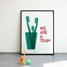 We are a team. Emerald teal Screenprint 11.7 x 16.5 (A3)