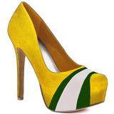 MUST. HAVE. THESE!    HERSTAR™ Yellow Green White Team Color Suede Pumps | Novelty Heels | HERSTAR